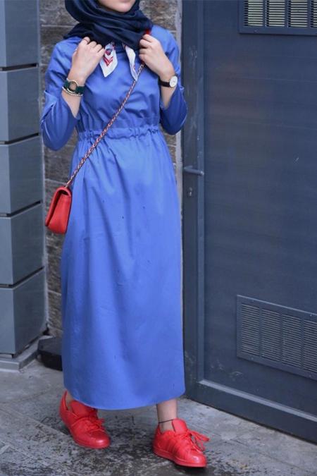 Kevsersarioglu İçten Kemerli Rahat Giy Çık Mavi Elbise