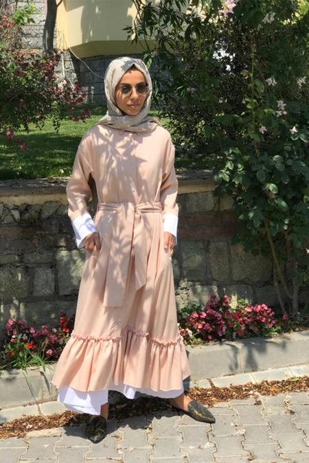 Lavinia Couture Pudra Fırfırlı Elbise