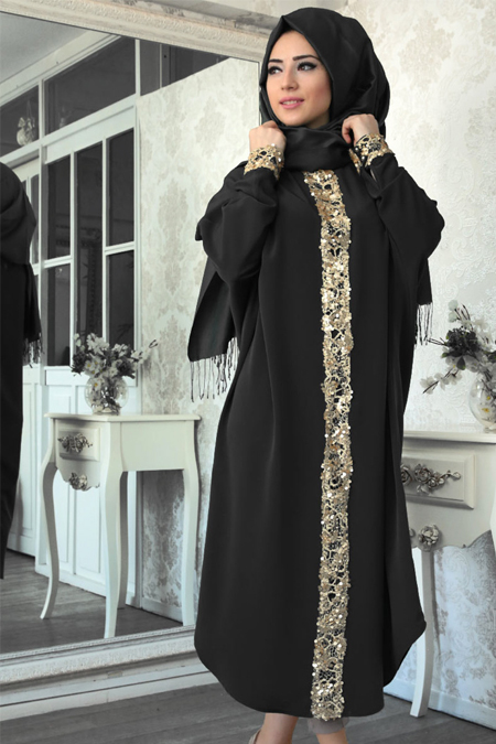 Lef`zen Siyah Elisa Payetli Tunik