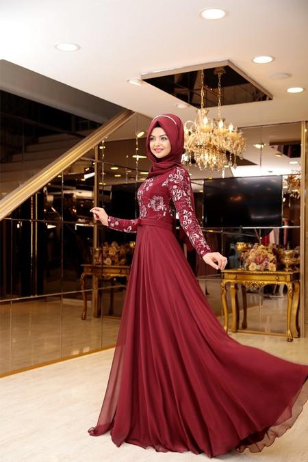 Pınar Şems Bordo Melike Abiye