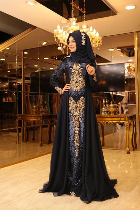 Pınar Şems Lacivert Güneş Abiye