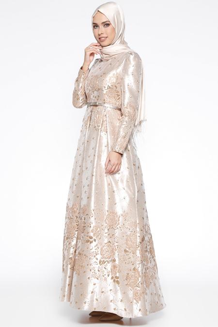 Puane Gold Jakarlı Abiye Elbise