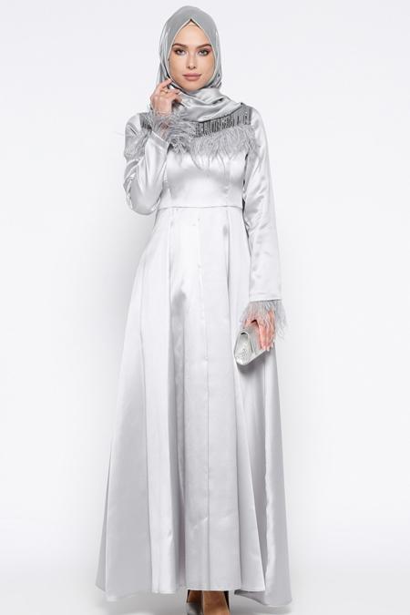 Puane Gri Otriş Detaylı Abiye Elbise