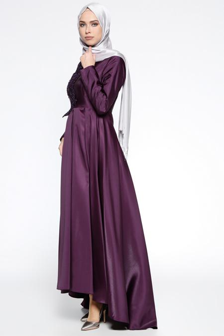 Puane Mor Güpür Detaylı Abiye Elbise