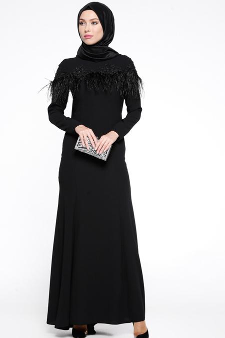 Puane Siyah Otriş Detaylı Dantelli Abiye Elbise