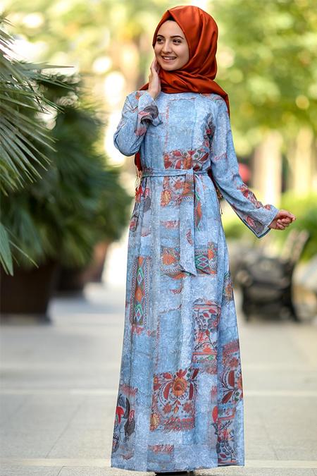 Puqqa Mavi Otantik Elbise