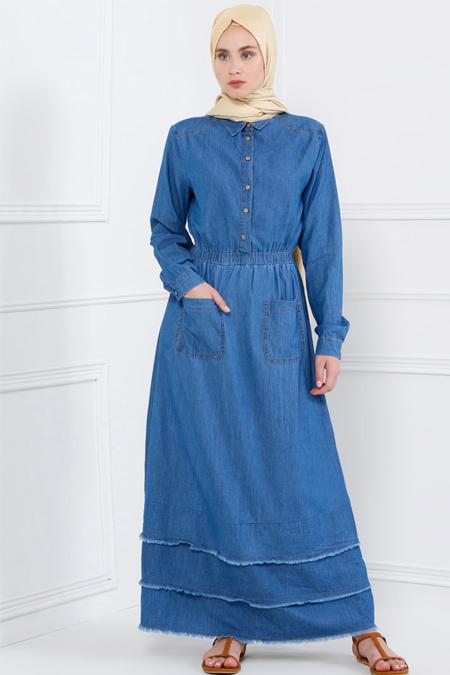 Refka Açık Mavi Doğal Kumaşlı Kot Elbise