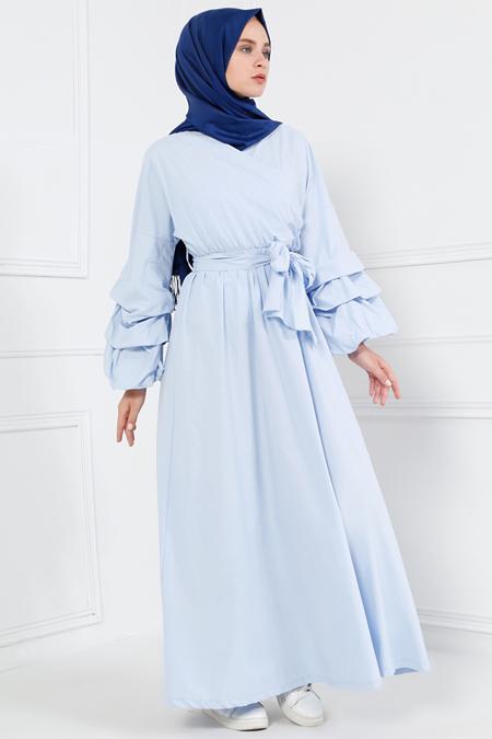 Refka Bebe Mavisi Doğal Kumaşlı Kol Detaylı Elbise