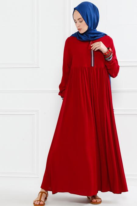 Refka Bordo Nakış Detaylı Elbise