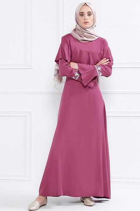 Refka Gül Kurusu Volan Detaylı Nakışlı Elbise