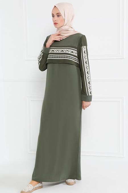 Refka Haki Çizgili Elbise