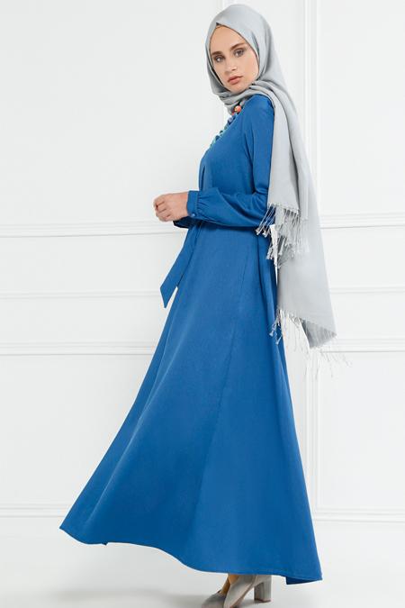 Refka İndigo Gizli Düğmeli Elbise