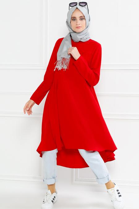 Refka Kırmızı Fermuar Detaylı Pileli Tunik
