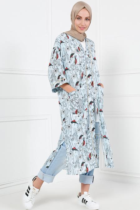Refka Mavi Desenli Kimono