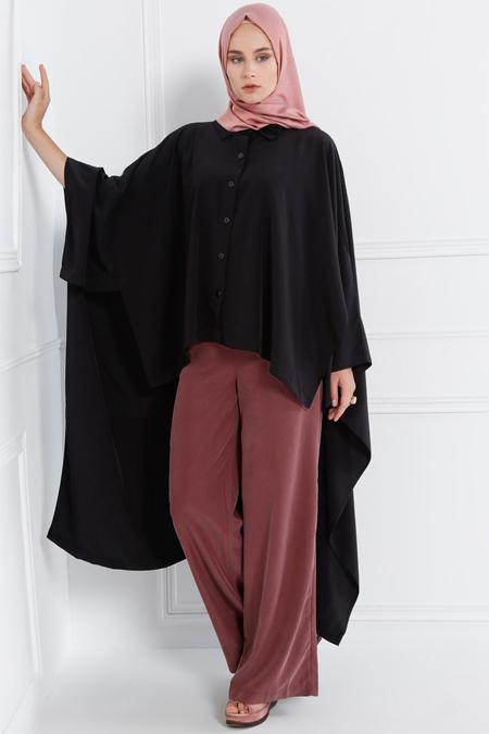 Refka Siyah Arkası Uzun Salaş Gömlek