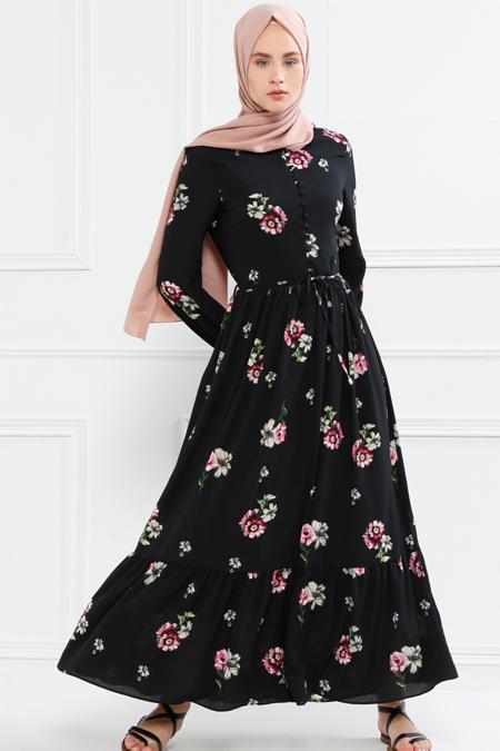 Refka Siyah Birit Detaylı Desenli Elbise