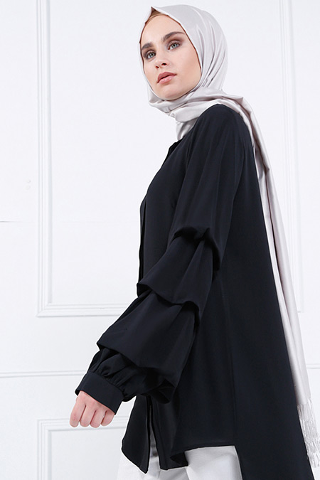 Refka Siyah Gizli Düğmeli Arkası Uzun Tunik