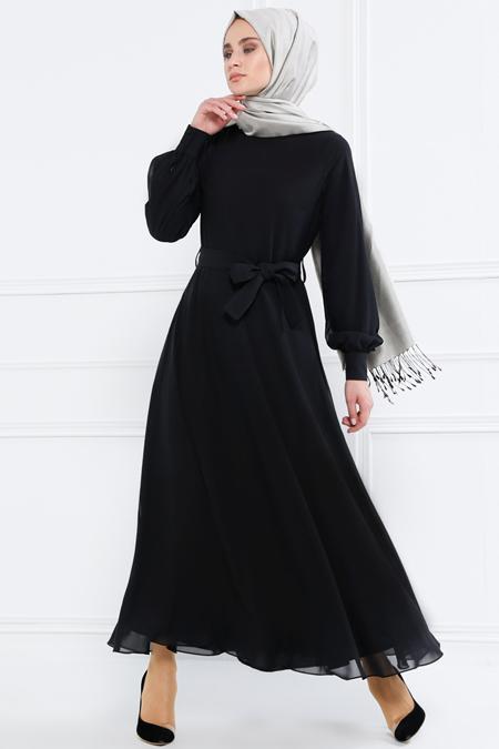 Refka Siyah Kuşaklı Şifon Elbise