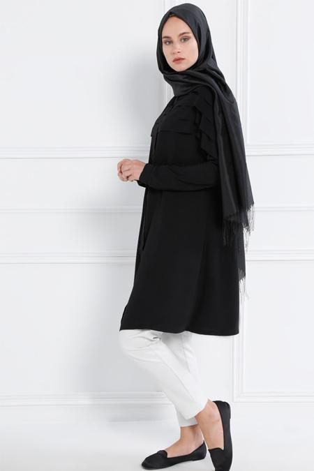 Refka Siyah Omuz Detaylı Tunik