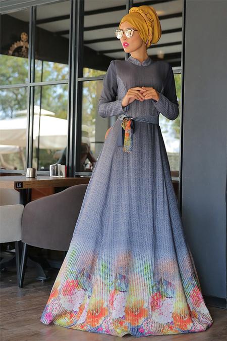 Selma Sarı Design Antrasit Rose Elbise
