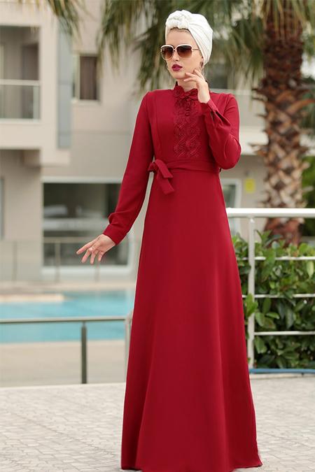 Selma Sarı Design Bordo Güpür Detaylı Eslem Elbise
