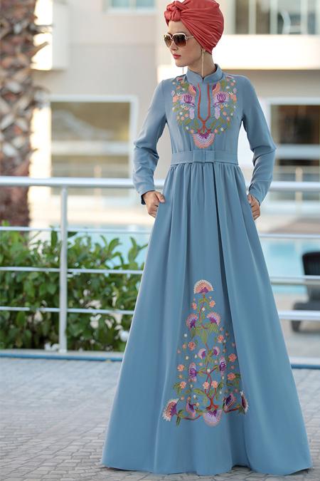Selma Sarı Design İndigo Cess Nakışlı Elbise