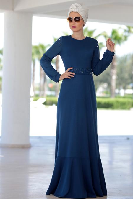 Selma Sarı Design İndigo Kol Detaylı İncili Elbise