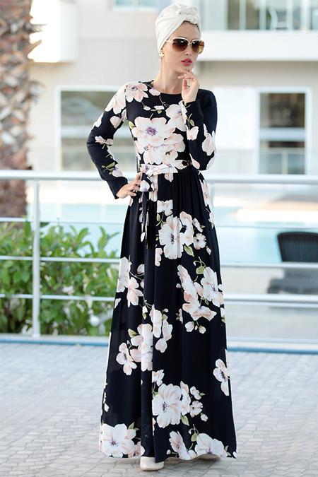 Selma Sarı Design Lacivert Burcu Elbise
