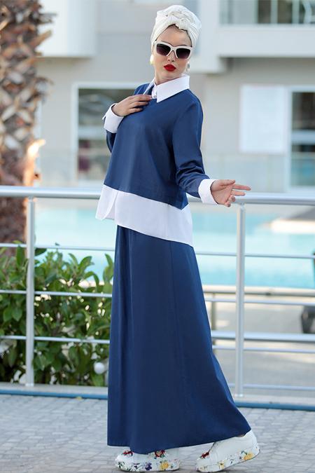 Selma Sarı Design Lacivert Şeyma Etek & Bluz İkili Takım