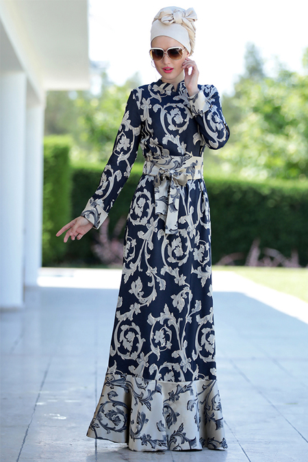 Selma Sarı Design Lacivert Viole Eteği Valon Elbise