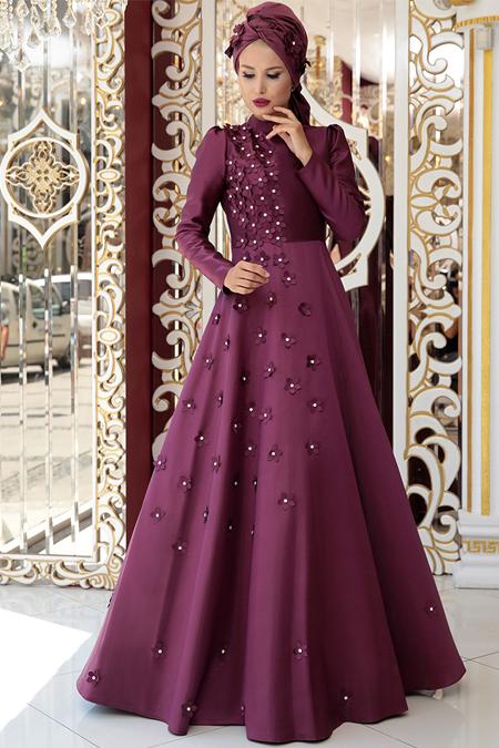 Selma Sarı Design Mürdüm Çiçek Detaylı Abiye Elbise