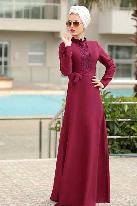 Selma Sarı Design Mürdüm Güpür Detaylı Eslem Elbise