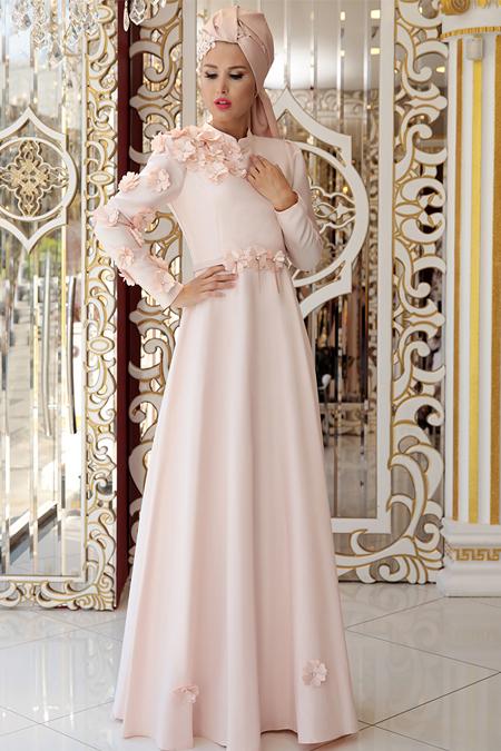 Selma Sarı Design Pudra Çiçek Detaylı Abiye Elbise