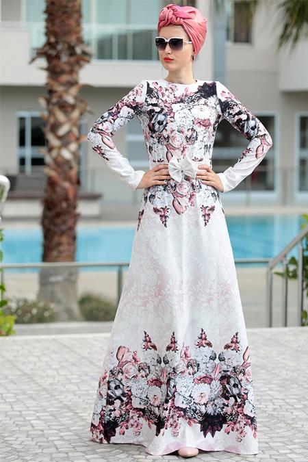 Selma Sarı Design Pudra Digital Elbise