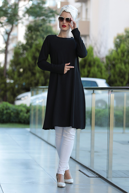 Selma Sarı Design Siyah Basic Tunik