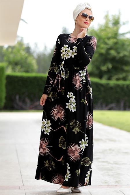 Selma Sarı Design Siyah Burcu Elbise