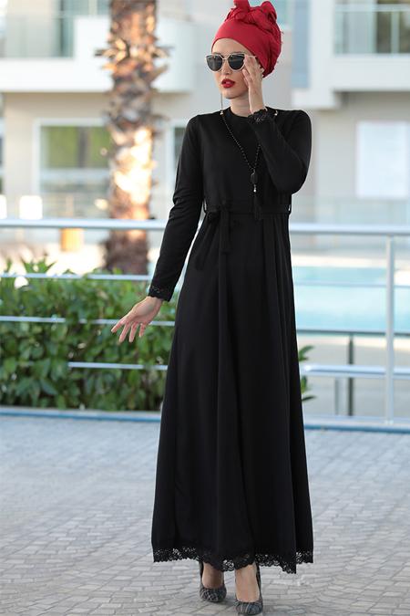 Selma Sarı Design Siyah Kolyeli Elbise
