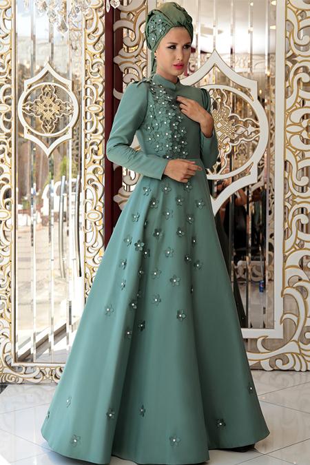 Selma Sarı Design Yeşil Çiçek Detaylı Abiye Elbise