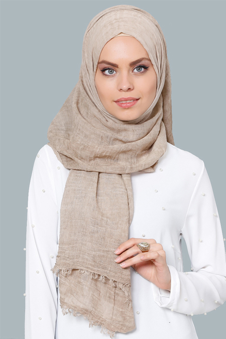 Tuva Şal Camel Yıkama Soft Cotton Şal
