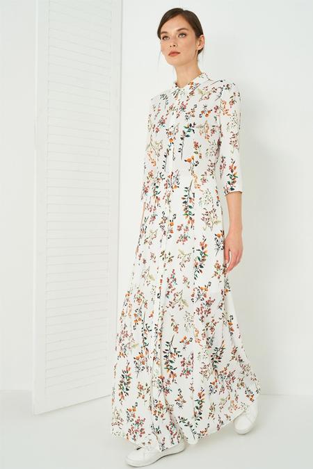 Vavist Açık Desenli Maxi Elbise