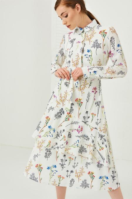 Vavist Ekru Çiçek Desenli Gömlek Yaka Elbise