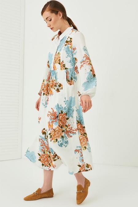 Vavist Ekru Çiçek Desenli Midi Elbise