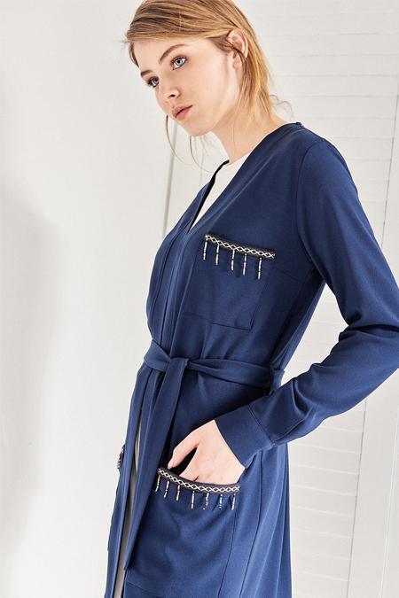 Vavist Lacivert Uzun Kol Kadın Ceket