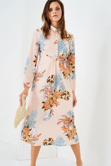 Vavist Pudra Çiçek Desenli Elbise