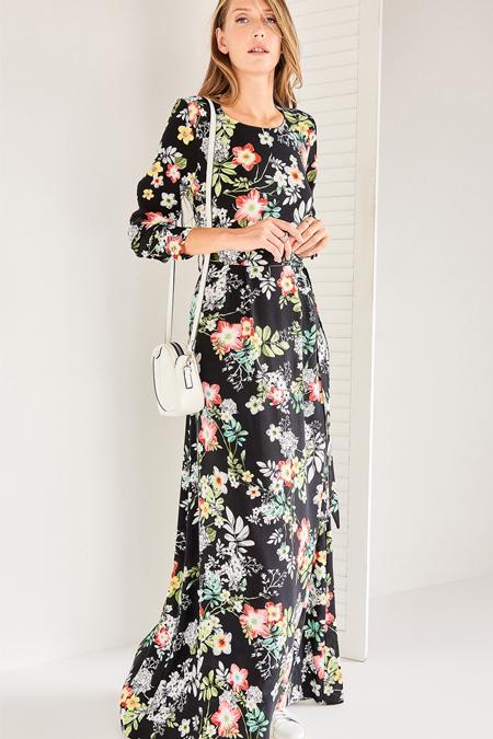 Vavist Siyah Çiçek Desenli Elbise