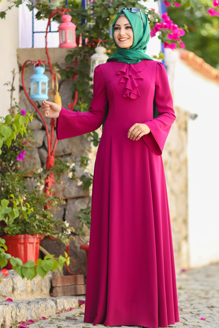 An Nahar Fuşya Ezgi Elbise