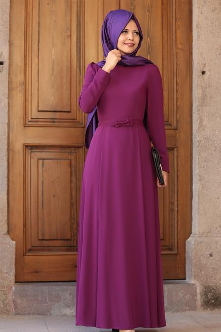 An Nahar Fuşya Fiyonk Elbise