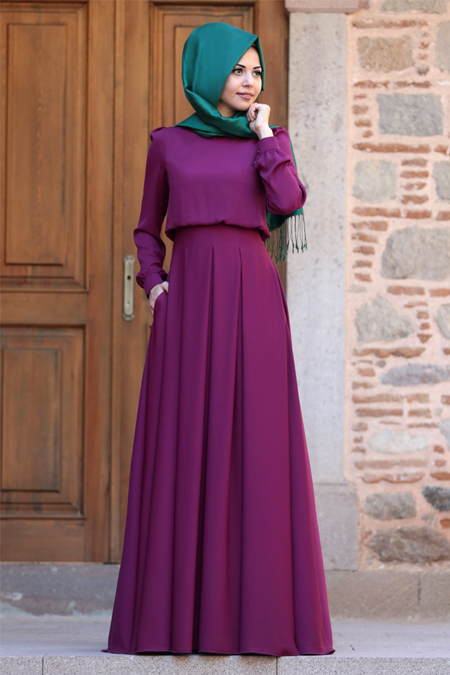 An Nahar Fuşya Gülce Elbise