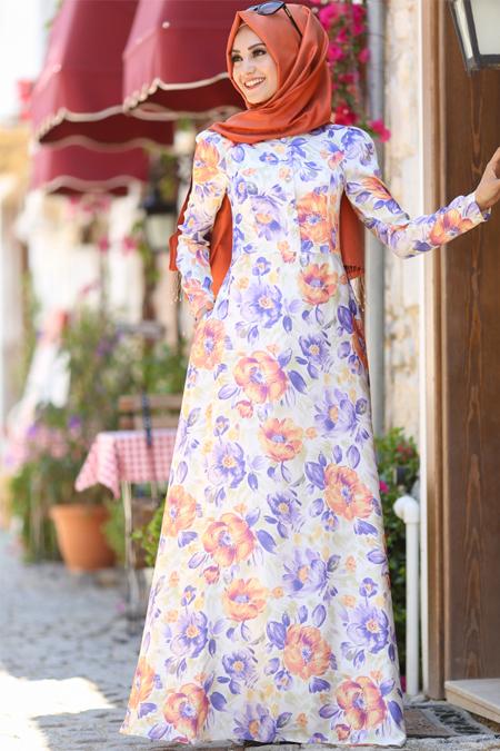 An Nahar Mor Ekru Çiğdem Elbise