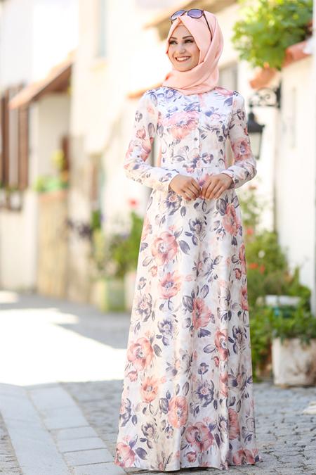 An Nahar Pudra Ekru Çiğdem Elbise